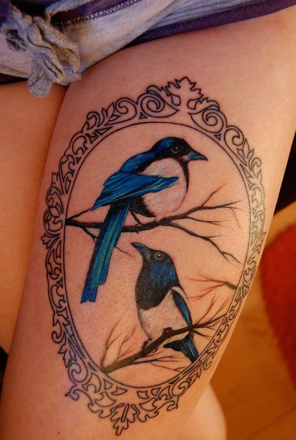 birds tattoo design idea on thigh