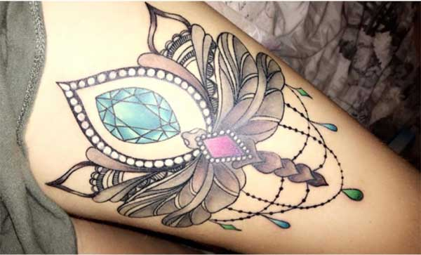 gem tattoo design idea on thigh