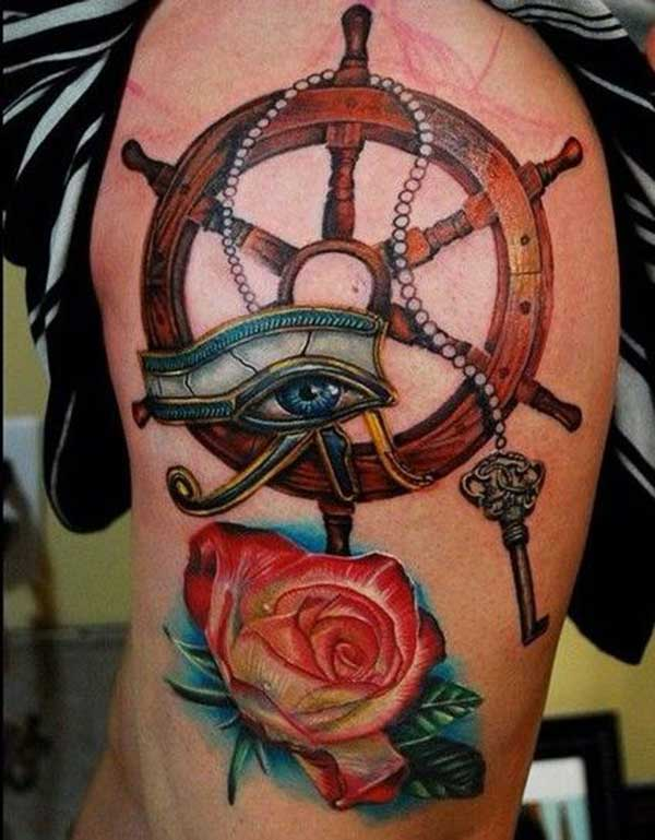 colorful anchor and Rose Thigh Tattoo ink idea for girl
