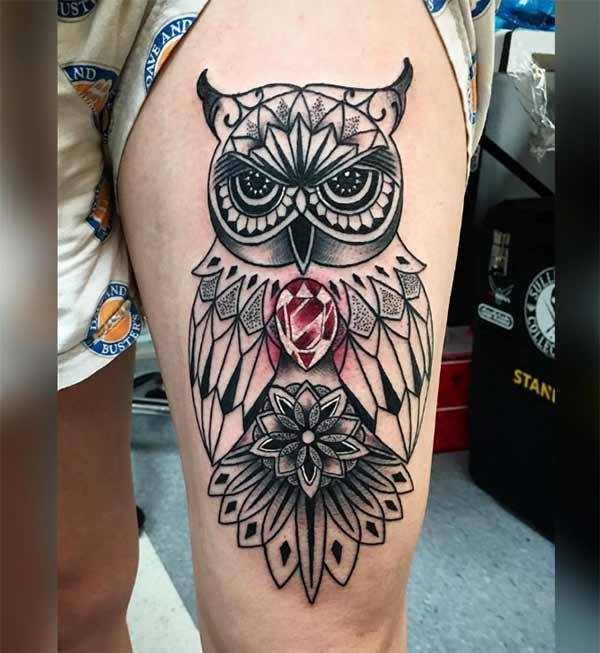 dark owl thigh inking idea