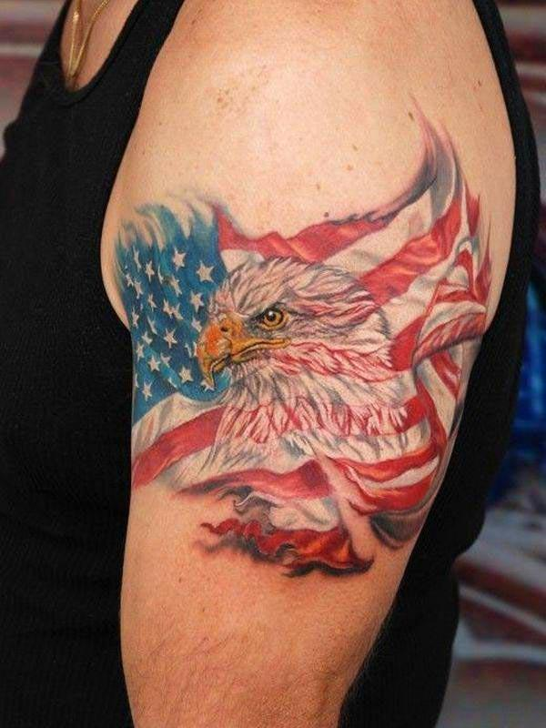 American Flag Tattoo with an eagle ink design on the upper left arm shows the man's passionate nature on eagle