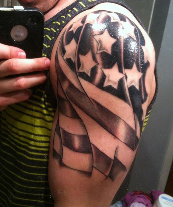 The American Flag Tattoo with a dark color will camouflage with the light kin body to give swagger look
