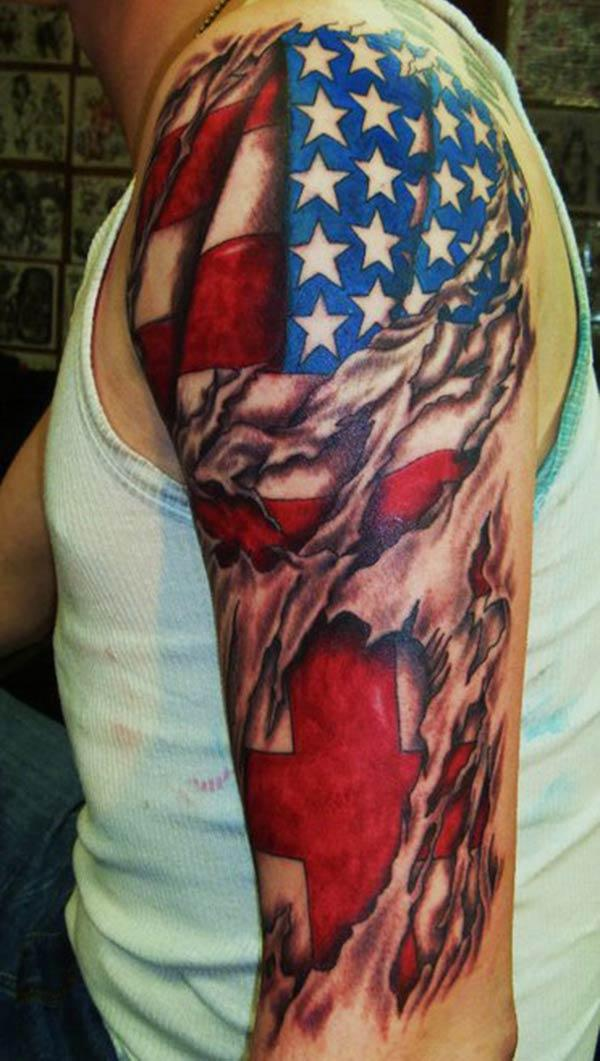American Flag Tattoo on the left should make a man look marvelous