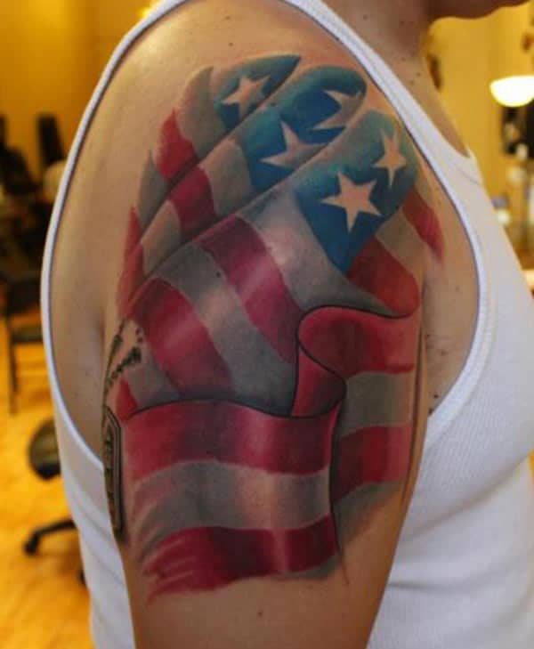 American Flag Tattoo on the right arm make a man have an august look