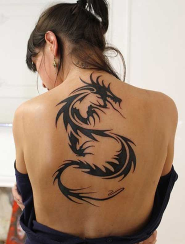 simple dragon tattoo design idea for girl back