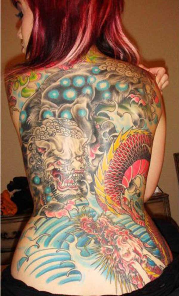 Stunning dragon tattoo idea for girls