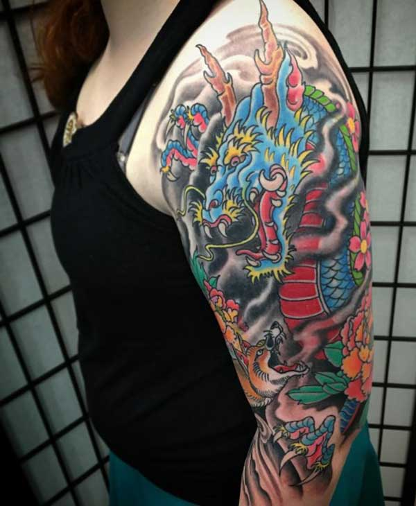 Shoulder Dragon tattoo design idea for girls