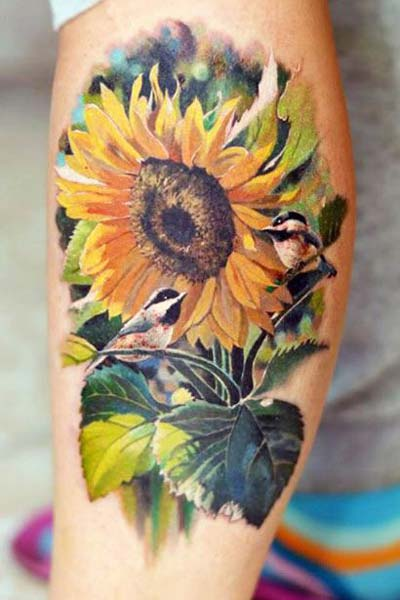 sunflower tattoo on elbow for boys