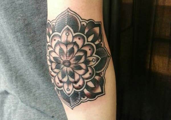 traditional cool elbow tattoo ink idea for women