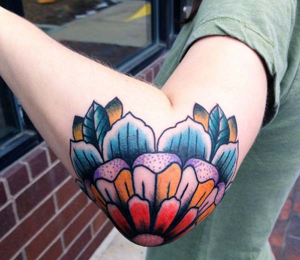 traditional colorful elbow tattoo ink idea for girls