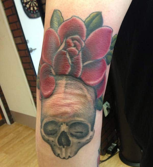 skull elbow tattoo ink idea for the ladies