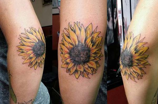 amazing sunflower tattoo ink idea on the elbow