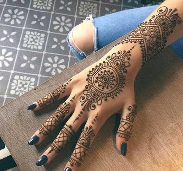 arabic henna mehendi tattoo design on hand