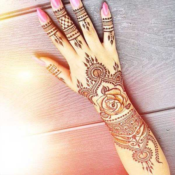 simple henna mehendi tatoo design on hand