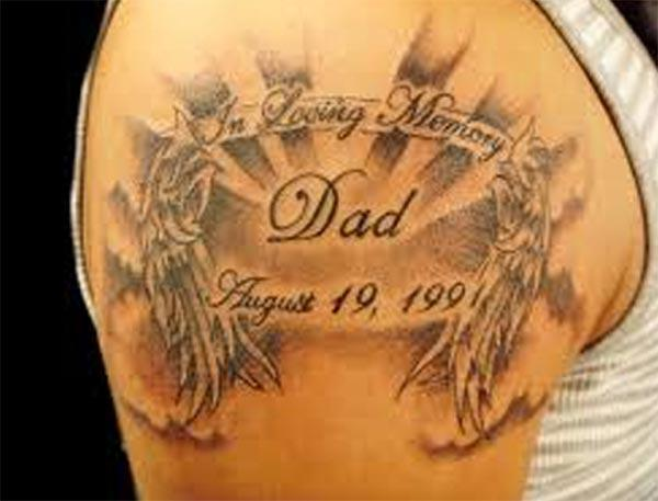Rip dad tattoo on the shoulder