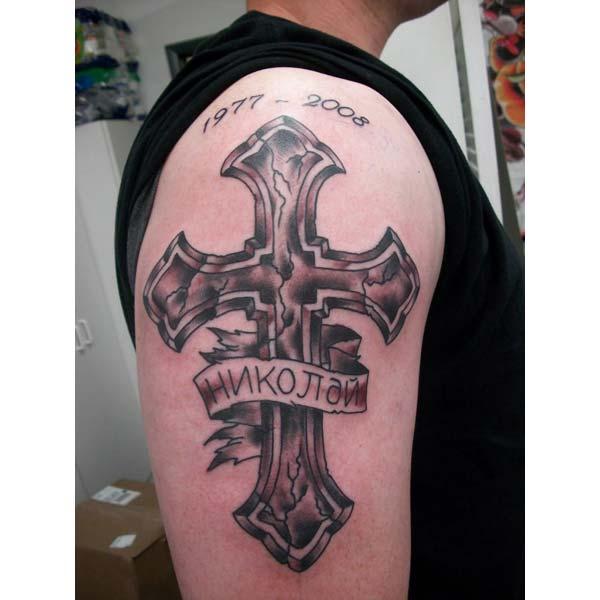 Idea de diseño de tinta de tatuaje RIP Hombro