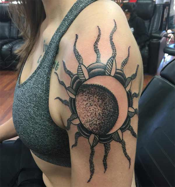 Wonderful Sun And Moon shoulder tattoo for women