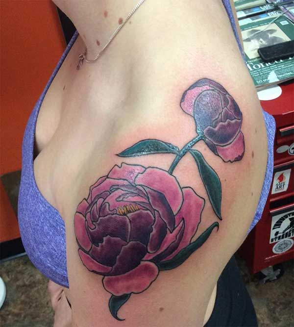 Flower shoulder tattoo ink idea for women