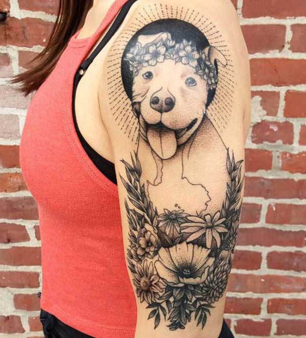 Dog tattoo idea on shoulder for girl