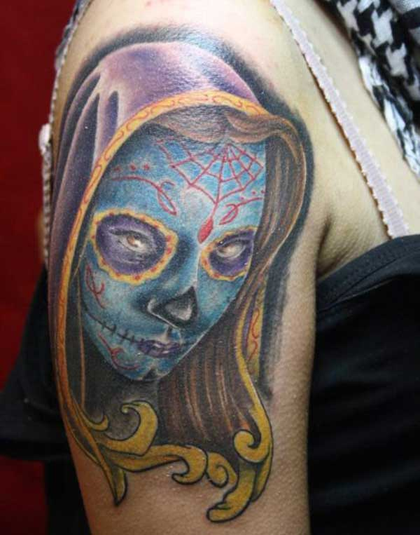 Day of dead tattoo idea on shoulder for girl
