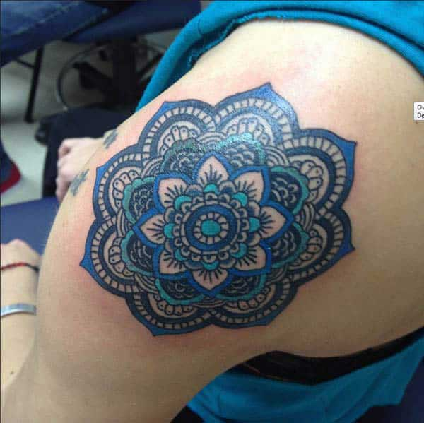 Mandala tattoo design idea on shoulder for girl