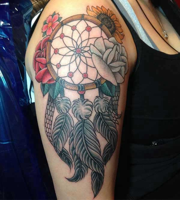 Dreamcatcher tattoo ink idea on shoulder for girls