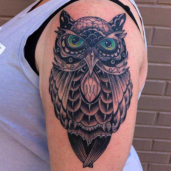 Creative Owl shoulder tattoo for women