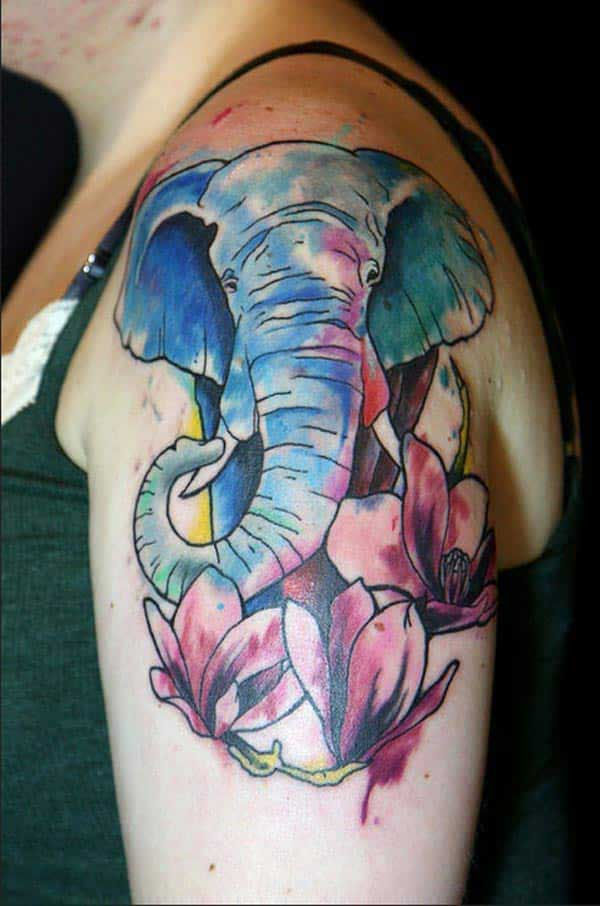 Colourful Elephant shoulder tattoo ink idea for women