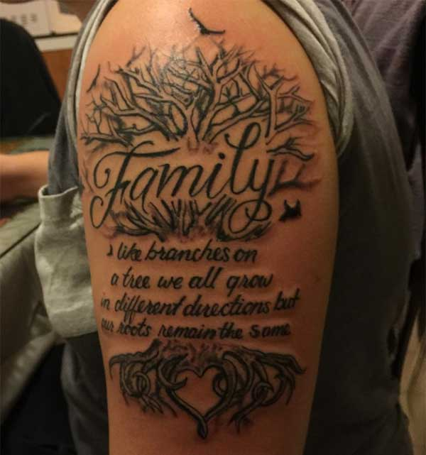 Family Tatoo design on men shoulder