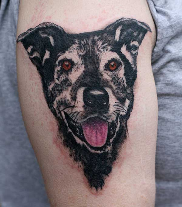 Shoulder dog tattoo