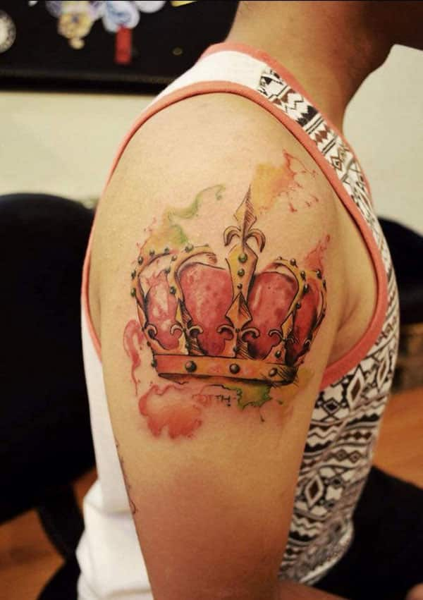 crown tattoo ink design idea for men shoulder