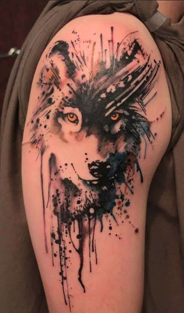 Artistic Wolf Shoulder Tattoo