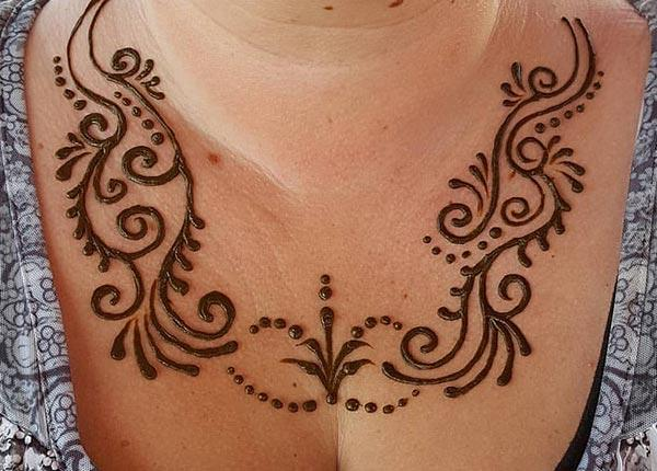 Chest Mehndi tattoo designs idea