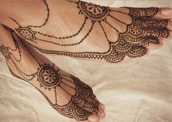 Feet Mehndi tattoo designs idea