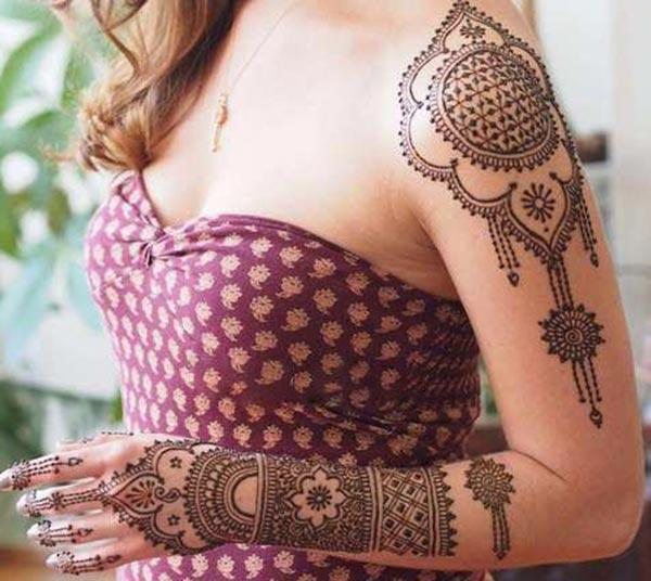 Shoulder Mehndi tattoo designs idea