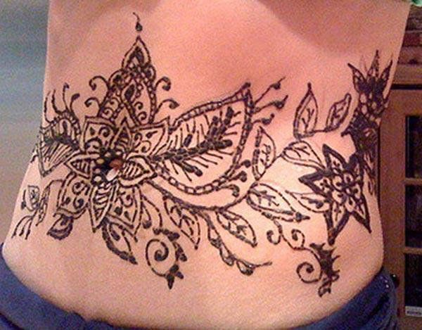 Stomachs Henna / Mehndi tattoo designs idea