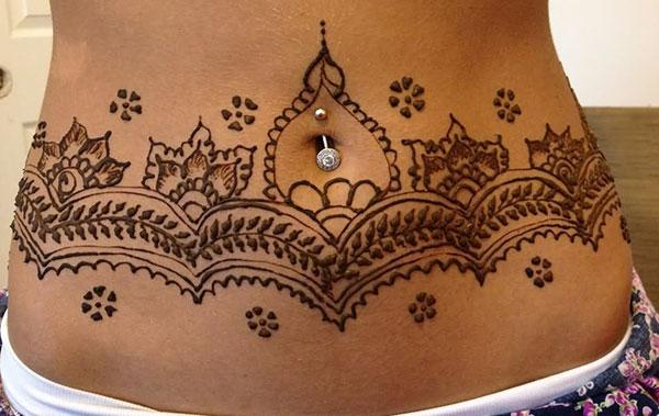Stomachs Mehndi tattoo designs idea