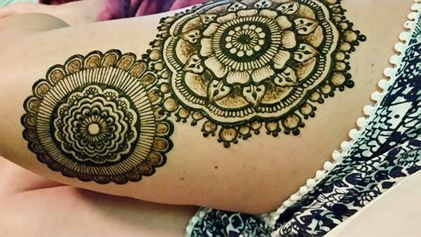 Thighs Mehndi tattoo designs idea