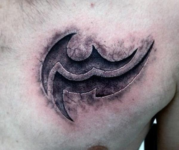 Engraved Aquarius tattoo adds on the muscular appeal to men