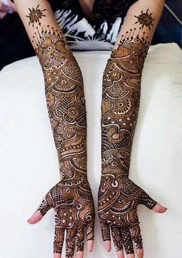 Πλήρης βραχίονας Mehndi σχεδίαση τατουάζ ιδέα