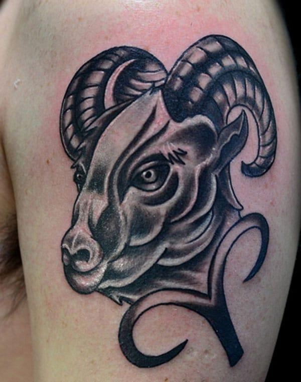 Cool shoulder Aries tattoo design idea for boys