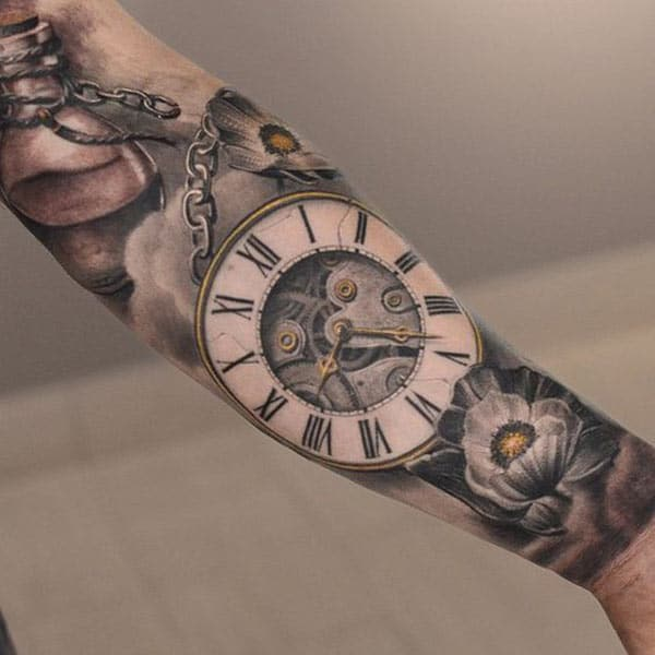 Clock half sleeve tattoo ink idea for boys