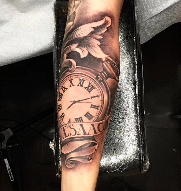 Pocket clock tattoo design idea for hands