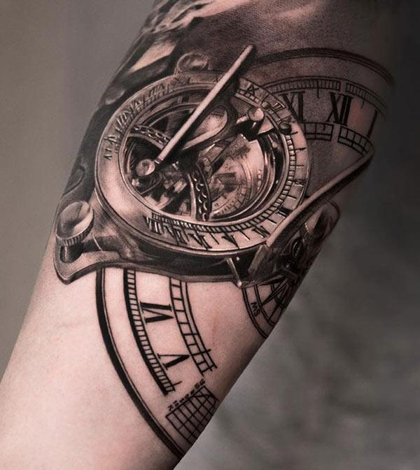Cool mechanical clock tattoo design idea for guys