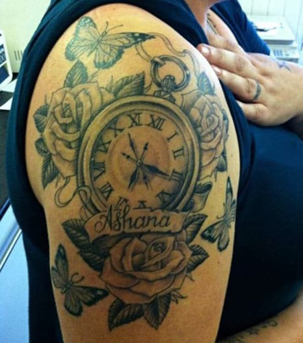 Shoulder pocket clock tattoo ink idea with roses