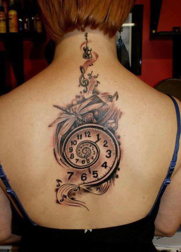 Full back pocket clock tattoo ink idea for girls