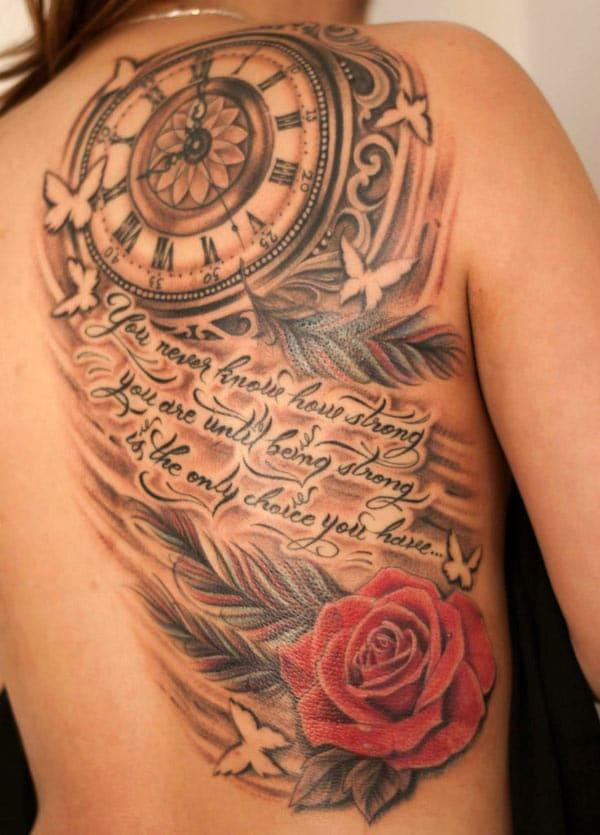 Half back vintage clock tattoo ink idea for girls