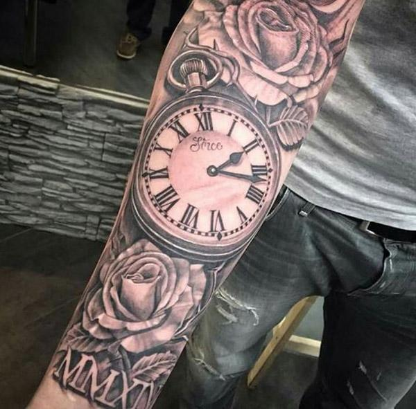 Full sleeve roman clock tattoo idea for boys