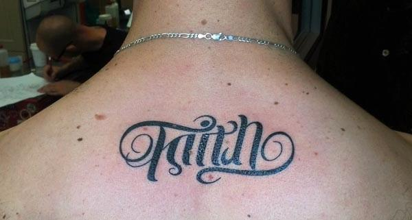 lower neck faith tattoo is simply great and stylish for women