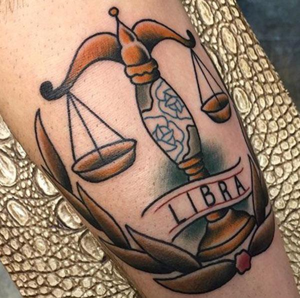 Cool Libra scale tattoo design idea for men and women with the real beauty